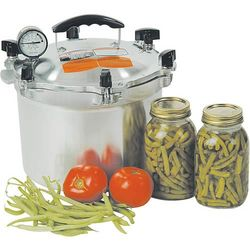 Pressure canner with some canned green beans next to it and some fresh tomatoes and green beans in front of it.