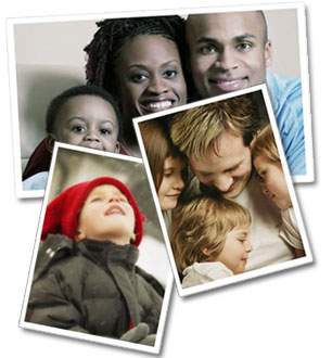 Collection of 3 photographs, one of an African American family, one of a Caucasian family, and one of a single child.