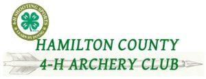 Hamilton County 4-H Archery Club logo, showing an arrow and a 4-H clover.