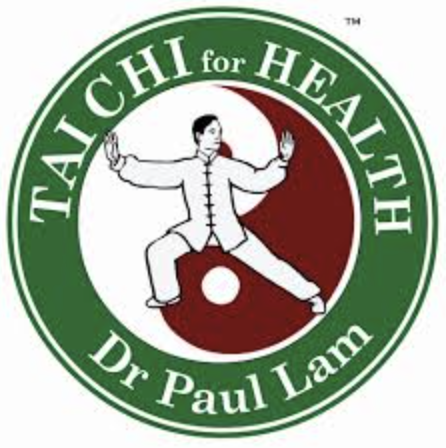 Logo for Tai Chi for Health with charicature of someone performing a stance. Also has the name Dr. Paul Lam.